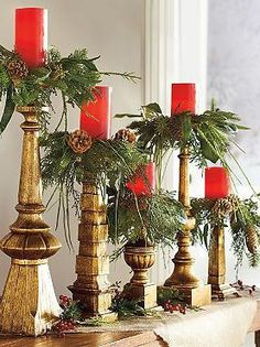 Add a natural touch to your Christmas display with the beautiful Set of Five Natural Candle Rings that feature an abundant mixture of natural elements like pinecones, leaves and pine.