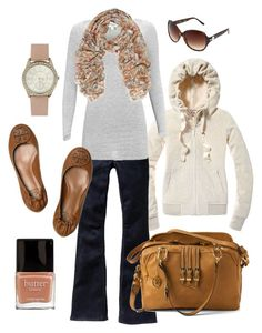 """""""winter casual"""" by htotheb ❤ liked on Polyvore featuring Juicy Couture, Old Navy, mbyM, Tory Burch, Mulberry, Butter London, Jessica Simpson, leather messenger bags, floral and pink"""