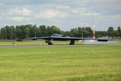 A B-2 Spirit from Whiteman Air Force Base, Missouri, lands at RAF Fairford, England June 8, 2014. Two B-2 Spirits from Whiteman flew to the U.S. European Command area of to train and integrate with U.S. and allied military forces in the region. (U.S. Air Force photo by Candy Knight/Released)