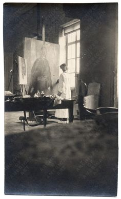 Ceclia Beaux working in her studio on this huge portrait next to the window. Inspiring.