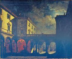 Orsi Tranquillo, Veduta prospettica notturna, 1820 - 1830 circa, olio su tela / Orsi Tranquillo, Night prospective view, ca. 1820 - 1830, oil painting on canvas, Gorizia, Palazzo Coronini Cronberg, inv. 1321