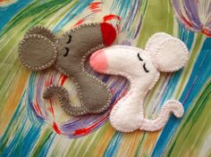 Pipi the mouse  felt brooch or magnet animal by mirkajakabova, €10.00