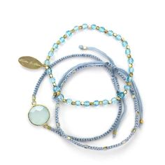 FEATHER & STONE Bali Aqua Friendship Bracelet in Blue ($135) found on Polyvore featuring jewelry, bracelets, stone bracelet, blue bracelet, feather bangle, stone bangles and feather jewelry