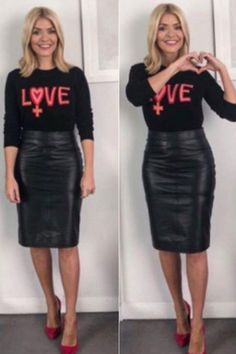 Fashion and Beauty ideas Holly Willoughby-Outfit: Fans in Aufruhr, als Holly an diesem Morgen einen Satin Pencil Skirt, Black Leather Pencil Skirt, Pencil Skirt Casual, Pencil Skirt Outfits, Denim Pencil Skirt, High Waisted Pencil Skirt, Pencil Skirts, Pencil Dresses, Leather Skirts