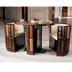 Nettlestone Library Ensemble   Library Table And Cushioned Barrel Chairs  (from Design Toscano)