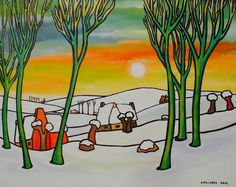 Winter Painting, Folk Art, Cool Pictures, Paintings, Nice, Photos, Colors, Pictures, Popular Art