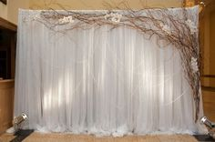 Draped sheer backdrop framed with twigs and flowers. Random swags of ribbon and spotlights complete the look.