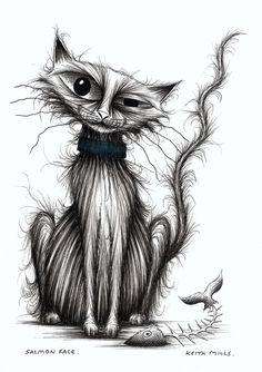 Salmon face Very happy cat who's eaten a big fish Original cartoon ink pen art £24.00
