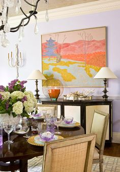 "featuring David Iatesta ""Awkard Cabinet"" #32-0728 - DC House Design with Pastels - Wash DC by Basha White Interiors  (Ebanista ""Andora"" chandelier, Stark: Decca Collection Chinese Oriental area rug, L'Objet gold chargers on table, Marge Avery painting, Robert Kuo Grand Arabesque Lamp from McGuire Furniture)"