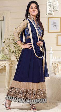 USD 27.06 Akshara Navy Blue Georgette Anarkali Suit 42752