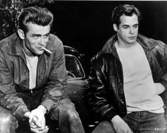 James Dean and Dennis Hopper in Rebel Without a Cause. Directed by Nicholas Ray, movie released in 1955.