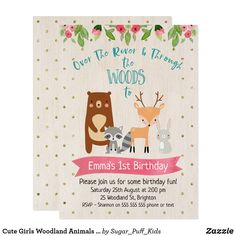 Items similar to Girls Woodland Birthday Invitation, Woodland Animals Birthday Invitation, Over The River Birthday Invitation, Woodland Invitation, Templett on Etsy 1st Birthday Invitations Girl, Girl 2nd Birthday, Birthday Ideas, Birthday Cards, Birthday Gifts, Happy Birthday, Animal Birthday, Dinosaur Birthday, Woodland Animals