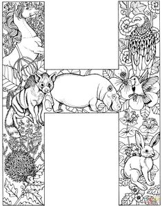 Letter H with Animals coloring page | Free Printable Coloring Pages