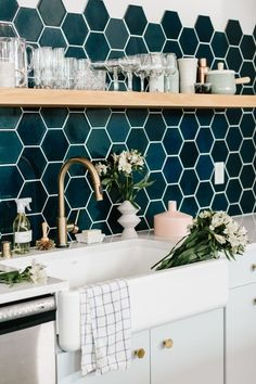 Image result for hex tiles behind wall hung basin