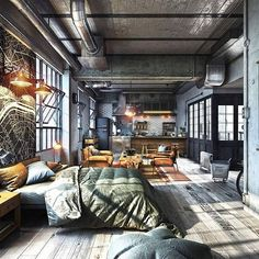 Gorgeous Warehouse Loft Apartment Decorating Ideas - Master Home Decor Industrial Interior Design, Industrial Apartment, Industrial Bedroom, Industrial House, Industrial Interiors, Home Interior Design, Industrial Style, Vintage Industrial, Industrial Bookshelf