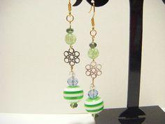 Green earrings green dangle earrings kawaii by Coloramelody