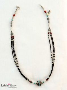 Nepalese Onyx and Glass Bead Necklace, $58.00