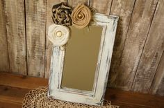 Vintage Wood Wall Mirror Shabby Chic by FestiveHomeDesigns