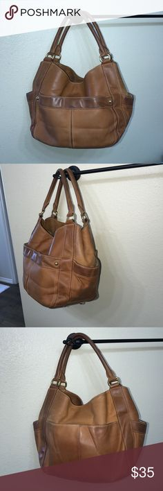 "J.Crew large leather handbag purse J.Crew leather large handbag purse vintage leather look has marks/scuffs & creasing in leather . Interior has some dust measures  16"" long 10"" tall 6.75"" wide strap drops 11"" J. Crew Bags Shoulder Bags"