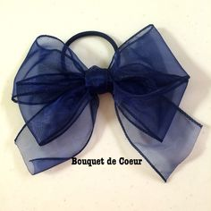 ハンドメイド♡フェミリンシフォンリボン♡ネイビー♡ http://s.ameblo.jp/bouquet-de-coeur/ Handmade feminine navy big ribbon hair accessory