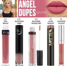 Kylie Cosmetics Angel Mini Matte Liquid Lipstick Dupes Birthday Collection] - All In The Blush Lipstick Dupes, Liquid Lipstick, Mauve Lipstick, Lipstick Shades, Lipstick Colors, Lip Colors, Mocha, Jordana Matte, Kylie Dupes