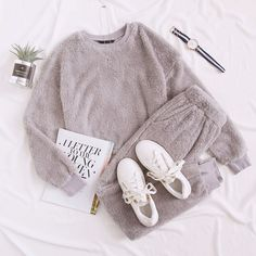To find out about the Drop Shoulder Teddy Crop Pullover and Joggers Set at SHEIN, part of our latest Two-piece Outfits ready to shop online today! Lazy Day Outfits, Cute Comfy Outfits, Mode Outfits, Girl Outfits, Comfy Clothes, Stylish Outfits, Girls Fashion Clothes, Winter Fashion Outfits, Cute Pajama Sets