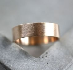 Men's Gold Wedding Band 6mm Wide Brushed Flat 10k by TheSlyFox