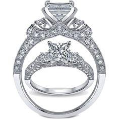 Three Stone Princess Diamond Engagement ring
