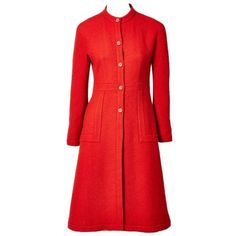 Preowned Sybilla Princess Style Wool Coat ($995) ❤ liked on Polyvore featuring outerwear, coats, red, wool coat, red coat, red wool coat, collarless wool coat and red collarless coat