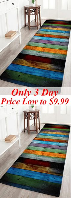 Colorful Stripe Antislip Coral Velvet Area Rug