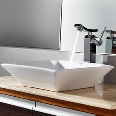 Kraus C-KCV-125-14300CH White Square Ceramic Sink and Unicus Faucet Chrome