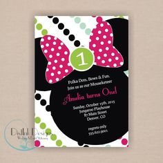 Minnie Mouse Birthday Party Invitation - Printable 5x7 CUSTOMIZE TtheCOLORS and WORDING 1st, 2nd, 3rd or any birthday. $13.25, via Etsy.
