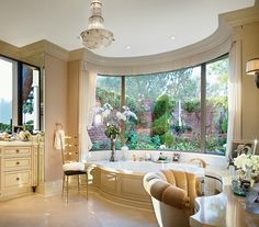 Awesome!!    Except I don't think I would be brave enough to bathe in front of those big windows