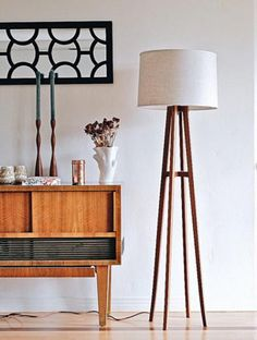 Made-to-order midcentury-inspired floor lamps in solid walnut — straight from designer Kylle Andrew's San Diego Studio. #etsyfinds