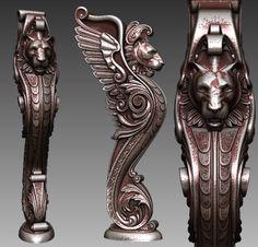 Декоративный лев отличного качества, форматы stl. obj. ztl. Бонус-материал как на изображении (zmt) для Zbrush