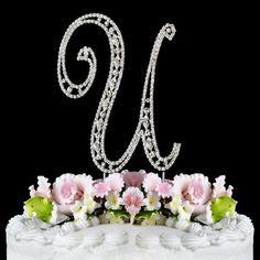 Vintage ~ Swarovski Crystal Wedding Cake Topper ~ Letter U