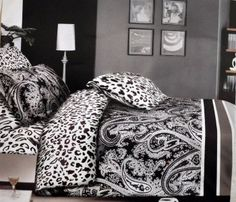 Black U0026 White Color Designer Soft 3Pcs Double Bed Sheet Set