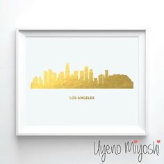 Los Angeles Skyline Gold Foil Print Gold Print Map by UyenoMiyoshi