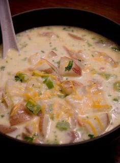 Directions: 2 1/2 pounds baby red potatoes, sliced into small bite sized pieces 1/2 lb. uncooked bacon, finely diced 1 medium onion, diced 1/4 bunch celery, diced 8 cups milk 3 cups water 4 chicken bouillon cubes (use 1 cup of the