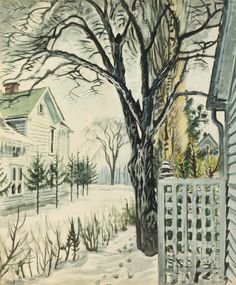 """Charles Ephraim Burchfield, Basswood Tree in Winter (1948)-- Strong architectural features like the geometric fence and white-clapboard home set against the naturalistic winter scene in Midwestern artist Charles Ephraim Burchfield's painting """"Basswood Tree in Winter' inspires designer Bruce Fox, who delights in the juxtaposition of organic and man-made elements."""