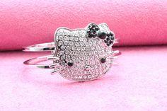 Hello Kitty Bling Bling Bangle Silver Bracelet Black Bow Free Shipping