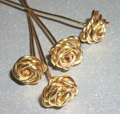 Handmade Brass Wire Rose Headpins 4 by WickedlyWired on Etsy, $10.50