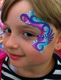 purple, pink, blue, white, swirl cheek and eye design Face Painting Tutorials, Face Painting Designs, Rainbow Face Paint, Girl Face Painting, Belly Painting, Eye Painting, Cheek Art, Simple Face, Face Design