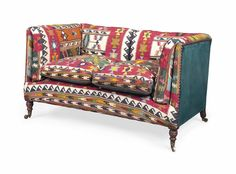 KILIM AND GREEN LEATHER UPHOLSTERED SOFA   LATE 20TH CENTURY