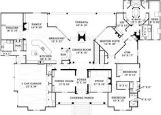 First Floor Plan- 5000 sq ft. Would like to eliminate the family room. Like the master suite! Make a few changes!