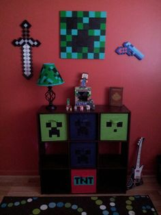 Bedroom Decorations For Kids Boys Minecraft Bedroom, Minecraft Room Decor, Minecraft Decorations, Minecraft Party, Kids Bedroom, Bedroom Decor, Bedroom Ideas, Room Themes, My New Room