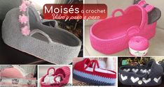 Cómo Hacer un Moisés para Bebé Tejido a Crochet Free Pattern, Baby Shoes, Crochet Hats, Sneakers, Kids, Crafts, Mandala, Clothes, Diana