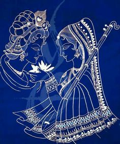 Indian art Lord Krishna (my cat's name) Mural Painting, Fabric Painting, Painting & Drawing, Madhubani Art, Madhubani Painting, Krishna Painting, Krishna Art, Lord Krishna, Shiva