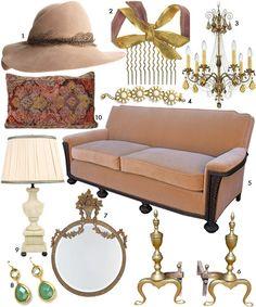 Living in Downton Abby  1. Eugenia Kim Catherine Hat, $379; 2. Edwardian Haircomb, $150; 3. Schonbeck Chandelier, $998; 4. Kate Spade Bracelet, $148; 5. Antique Velvet Sofa, $4800; 6. Brass Andirons, $950; 7. French Gilded Mirror, $299; 8. Kristan Crystal Earrings, $27; 9. Mayfair Alabaster Lamp; 10. Antique Carpet Pillow, $229