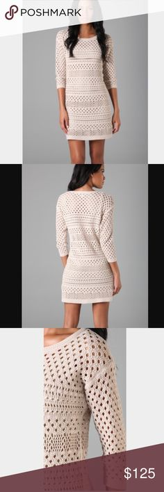 Tibi crochet 3/4 sleeve dress Crew beck crocheted dress. 100% cotton. Hand wash. No lining included, so you'll have to wear a slip dress underneath. Tibi Dresses